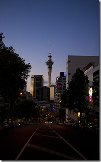 Sky Tower at Dusk over the road1280